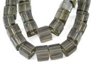 Cube Shape Pearlized Glass Beads Strand, Gunmetal Grey