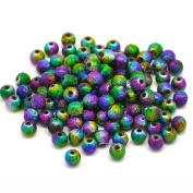 100pcs Mixed Stardust Acrylic Spacer Beads 6mm/Hole 1.2mm for Artwork / Craft