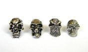 4 Metal Chrome Skull Bead Combo Pack For 550 Paracord Bracelets, Lanyards, & Other Projects