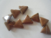 Bead, Porcelain Orange Puffed Triangle - 20cm