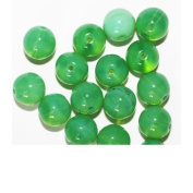Apple Green Round Czech Pressed Glass Beads
