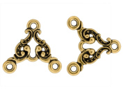 Pack of 4 TierraCast® Pewter Antique Gold 2 to 1 Hole Empire Links