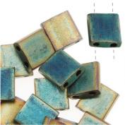 Miyuki Tila 2 Hole Square Beads Matte Metallic Green Iris