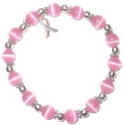 Stretchy Pink BREAST Cancer Packaged Awareness Bracelet- 8mm