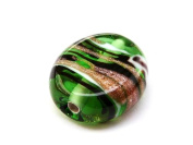 1pc Czech Glass Lampwork Beads Oval 16x12 mm Olivine decorated black , aventurine and white stripes