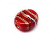1pc Czech Glass Lampwork Beads Oval 16x12 mm Ruby decorated black , aventurine and white stripes