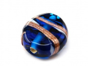 1pc Czech Glass Lampwork Beads Oval 16x12 mm Sapphire decorated black , aventurine and white stripes