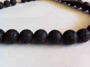 Lava round beads 10mm, sold per 16-inch strand.