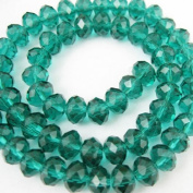 Crystal Glass Beads, 6x4mm Faceted Rondelle, Peacock Green+Sparkle