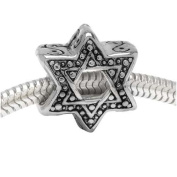 Silver Tone Star Of David - European Style Large Hole Bead