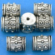 16g Bali Dot Barrel Beads Antique Silver Plate 9mm