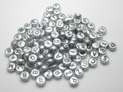 Alphabet Beads Round Letter 4x7mm 100/pkg Silver Colour ~Jewellery Making~