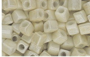 Opaque Cream Glass Cube Beads Made in Japan