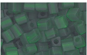 Medium Green Matte Frosted Glass Cube Beads Made in Japan