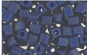 Blue Matte Frosted Glass Cube Beads Made in Japan