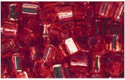 Silver Lined Ruby Glass Cube Beads Made in Japan