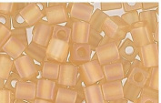 Amber Matte Frosted Rainbow Glass Cube Beads Made in Japan