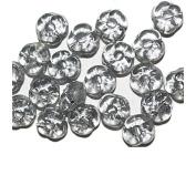 Grey Silver Flat Flower Czech Pressed Glass Beads