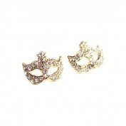 Wisedeal Fashion Unique Gold Diamond Crystal Rhinestone Party Mask Shape Stud Earrings