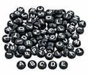 Black Round Alphabet Beads with White Letters - Pkg. of 100