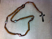 Religious Light Brown Wooden Bead Rosary With Different Picture Beads Centre Heart