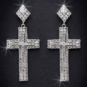 Crystal Rhinestone Cross Earrings, 5.1cm - 1.3cm Long, Crystal/Silver EAR_4020
