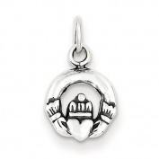 Sterling Silver Mini Antiqued Claddagh Charm - JewelryWeb