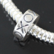 .925 Sterling Silver Hugs and Kisses XO Fits Pandora, Biagi, Troll, Chamilla and Many Other European Charm #EC389