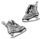60 pcs Tibetan Style Sport Pendants and Beads, Ice Skate Shoe Charm, Antique Silver, Lead Free, 15x10x4mm