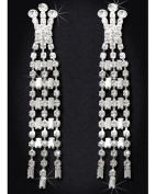 Crystal Rhinestone Earrings, 7.6cm - 1.9cm Long, Crystal/Silver EAR_4034