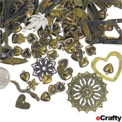 eCrafty EC-5633 Jewellery Maker's Stamped Metal Charms and Pendants Mix, 50gm