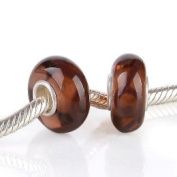 Beads and Dangles European charm glass bead scroll on brown glass-Fit All Brands Silver Plated Bracelets Beads Charms