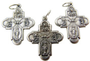 Lot of 3 - Jewellery Making Charms 2.5cm Silver Tone Trinity Edge 4 Four Way Cross Medal Pendant