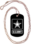 U.S. Army Logo Black Dog Tag with Neck Chain