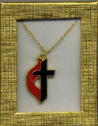 United Methodist Cross & Flame Necklace Gold