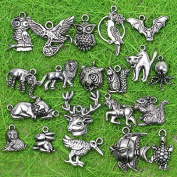 20pc Lots Tibetan Silver Animal Zoo Charm Pendant Beads