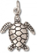 Sterling Silver Sea Turtle Charm with Split Ring Item #5250