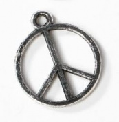 Anitqued Peace Sign Charms for Jewellery Making, Favour Decorations or Craft Projects - Total of 36