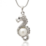 Silver Plated Crystal Dragon Holding Fresh Waterpearl Necklace