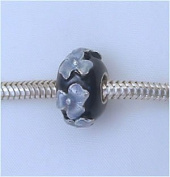 Black Blue Flowers Sterling Silver European Charm Bead
