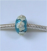 Blue 2 Tone Flowers .925 European Charm Bead