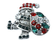 Crystal Stone Paved Santa Claus Pin and Brooch w/ Silver Trim