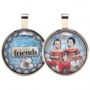 Santa Barbara Design Studio Two Sided Round Double Bubble Jewellery Charm by Artist Sally Jean
