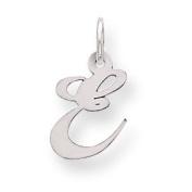 Genuine .925 Sterling Silver Small Fancy Script Initial E Charm.  .  d.