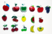 15 PC Cute Fruit Food Apple Cherry etc Mixed Lot of Charms - DIY Jewellery Crafting 8mm Enamel Pendants