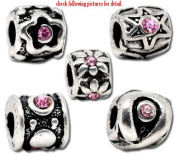 Pack of Five (5) Pink Rhinestone Design Rubber Stopper Charm B...