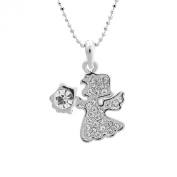 Silver Plated Angel Holding Guiding Light Charm with Chain