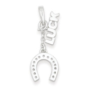 Sterling Silver Polished Luck & Horseshoe Pendant. Metal Wt- 1.37g