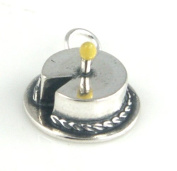 Sterling Silver Enamel Birthday Cake with 1 Candle Charm - Baby's First Birthday Charm Item #53025