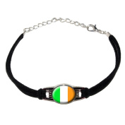 Ireland Irish Flag - Novelty Suede Leather Metal Bracelet - Black